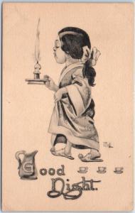 Artist-Signed WALL Comic Postcard Good Night Girl Candle Tea Cups 1910s Unused