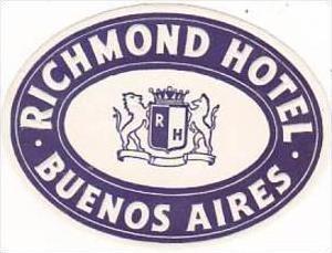 ARGENTINA BUENOS AIRES RICHMOND HOTEL VINTAGE LUGGAGE LABEL