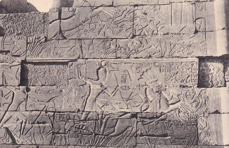 KARNAK, Egypt, 1900-1910s; Great Temple Of Ammon. Bas-Reliefs