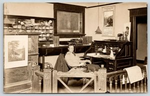 El Paso IL~Newspaper? Law Office~Typewriter~Bank Calendar~Fella @ Desk~1910 RPPC