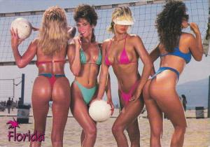 FLORIDA, 50-70s; Greetings, Four Female Volleyball players wearing thongs