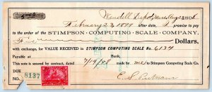 1898 WENDELL DEPOT MASS*STIMPSON COMPUTING SCALE CO*2 NOTES w/TAX REVENUE STAMPS