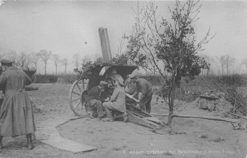 Germany~Military~German Soldiers Shoot Anti-Aircraft Artillery~WWII~1940s RPPC