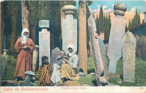 Turkey Constantinople Istanbul Scutari cemetery cimetiere turkish women vtg pc