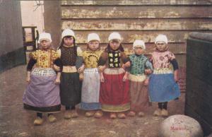 MARKEN, Noord-Holland, Netherlands, 1900-1910's; Dutch Girls And Boys Wearing...