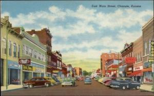 Chanute KS East Main St. Cars Stores c1940s Postcard