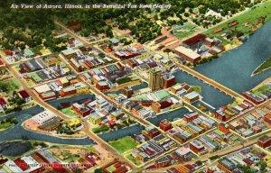 Illinois Aurora Aerial View Curteich