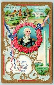 Patriotic~George Washington~Gave Liberty to World~Rose Wreath~Gold Leaf Emboss