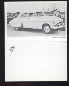 1950 CHEVROLET 4 DOOR VINTAGE CAR DEALER ADVERTISING POSTCARD DOUBLE FOULDOUT