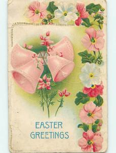 Divided-Back Easter PRETTY PINK BELLS WITH WHITE AND PINK FLOWERS o5724