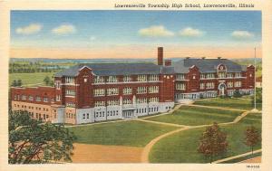 Lawrenceville Illinois~Township High School~Terraced Lawn~Flagpole~1941 Linen PC