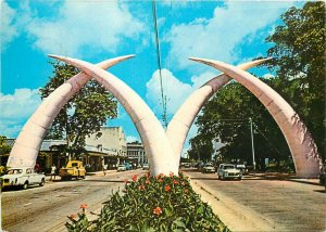 Giant tusks Mombasa Kenya postcard