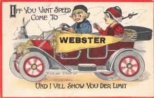 Webster Iowa~IF You Vant to Speed I Vill Show You Der Limit~Dutch Pennant c1913