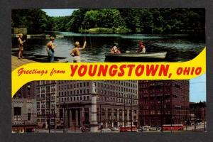 OH Greetings From Youngstown Ohio Lake Newport Business Stores Bus Postcard