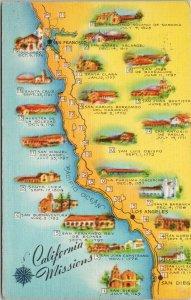 California Missions Map CA Postcard c1960 Linen Postcard F34