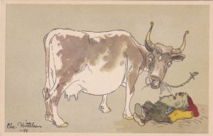 Norway Postcard Christian Kittelsen Angry Gnome Cow Unused