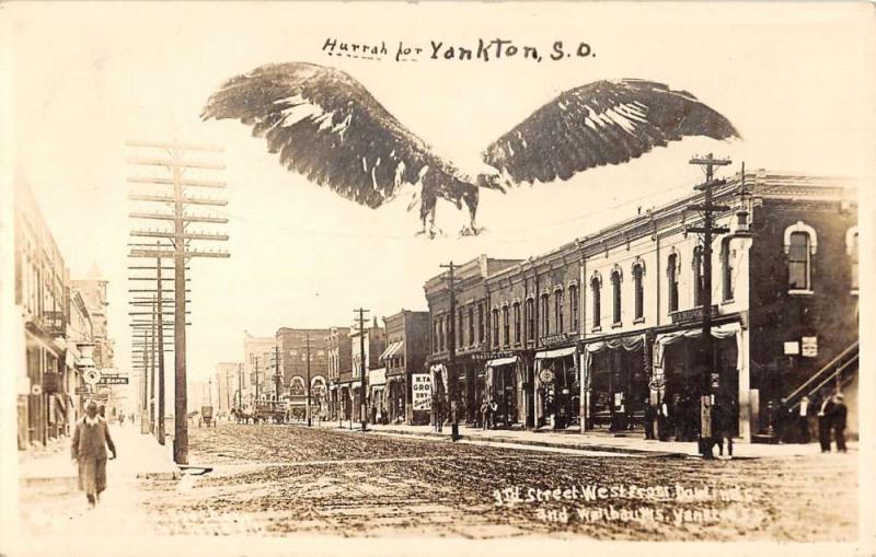 Yankton South Dakota Street Scene Historic Bldgs Real Photo Antique PC K30091