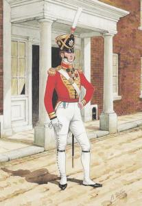 Foot 1821 Soldier Coldstream Guard Military Uniform Painting Postcard