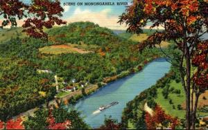 West Virginia Scene On Monongahela River Between Morgantown and Fairmont Curt...