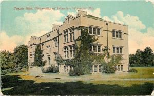 Wooster Ohio~Taylor Hall~University Of Wooster~1912 Postcard