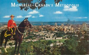 Canada Souvenir Postcard Montreal vue prise du Mont Royal riding police officer