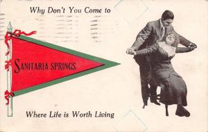 Life is Worth Living at Sanitaria Springs New York~1913 Pennant Postcard