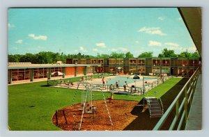 Ann Arbor MI- Michigan, Holiday Inn, Pool Side, Adversity, Chrome Postcard