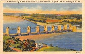 Huntington West Virginia & Gallipolis Ohio 1940s Postcard Locks & Dam