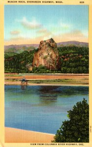 Washington Columbia River Highway Beacon Rock On Evergreen Highway Curteich