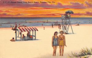 Panama City FL~Long Beach Resort~Bathing Beauties~Lifeguard Stand~Sunset~Linen