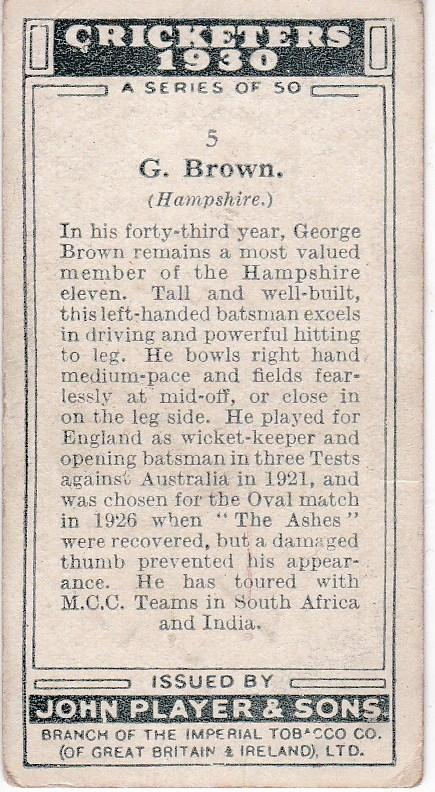 Cigarette Cards Player's Cricketers 1930 No 5 G Brown