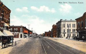 Hutchinson Kansas~Main Street~First National & Commercial Banks~Horse Buggy~1910