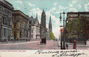 United States New York Fifth Avenue early street view postcard