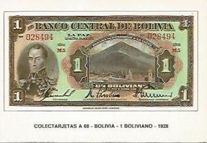 POSTAL 18230: 1 boliviano de Bolivia 1928