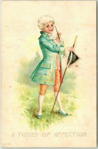 1900s PMC Postcard A TOKEN OF AFFECTION Boy / Colonial Costume Tricorne Hat