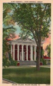 Hollins College, VA, Charles L. Cocke Library, Linen Vintage Postcard g8165