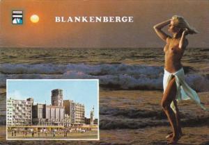 Risque Semi Nude Topless Girl On Beach Blankenberge Belgium