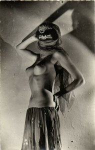 PC CPA RISQUE NUDE FEMALE, EXOTIC DANCER, VINTAGE REAL PHOTO POSTCARD (b7765)