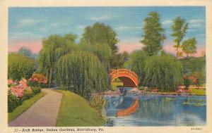 Harrisburg PA Willow Trees Surround Arch Bridge @ Italian Gardens 1933 Postcard