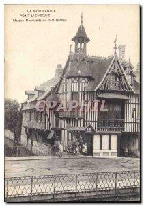 Postcard Old Normandy Pont L'Eveque House Norman to Breban Bridge