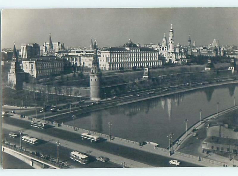 old rppc OLD BUSES ON BRIDGE BY BUILDINGS Moscow - Mockba Russia HM1682