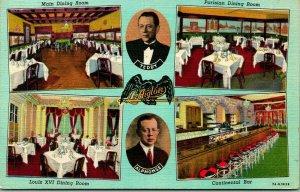 Chicago, Illinois Postcard L'AIGLON French Restaurant Wabash Ave. c1940s Linen
