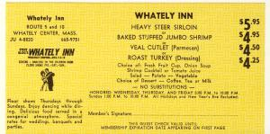 1968 Whately Inn 'Dine-Out' Coupon, Whately Center, Mass/MA