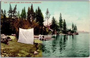 Swimmers at Liberty Lake Near Spokane Washington Vintage Postcard O15