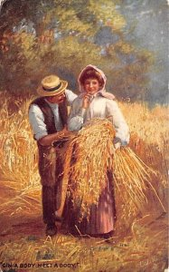 Farming Post Card Man and Woman Holding a Batch of Wheat 1908