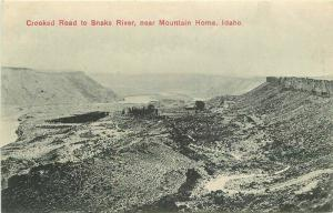 Crooked Road Snake River Mountain Home Idaho C-1910 Postcard Keener 4605