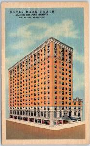 St. Louis, Missouri Postcard HOTEL MARK TWAIN 8th & Pine Streets Linen c1940s