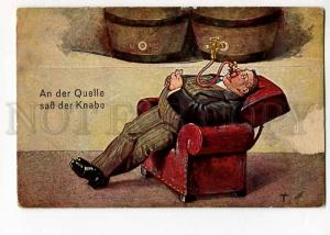 264785 COMIC Fat Man drinking BEER from Barrel Vintage PC
