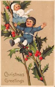 PFB Christmas~Minature Victorian Children on Holly Berry Branch~Snowfall~Emboss