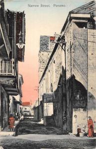 Panama Narrow Street Scene Historic Bldgs Antique Postcard K79712